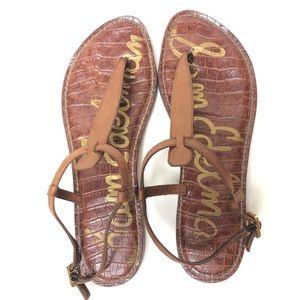 Sam Edelman Tan Gigi Thong Leather Sandals